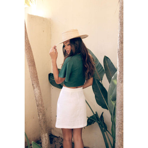 8.28 Boutique:Sage the Label,Sage the Label Set to Wander White Linen Mini Skirt,Bottoms