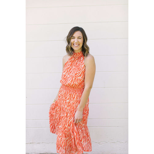 8.28 Boutique:Jade Melody Tam,Jade by Melody Tam Orange Zebra Halter Dress,Dress