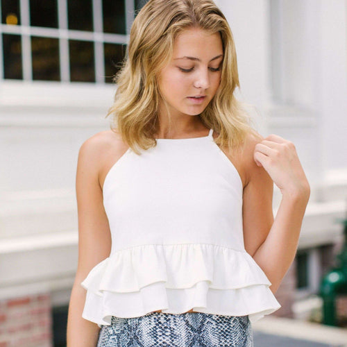 8.28 Boutique:After Market,After Market White Peplum Top,Tops