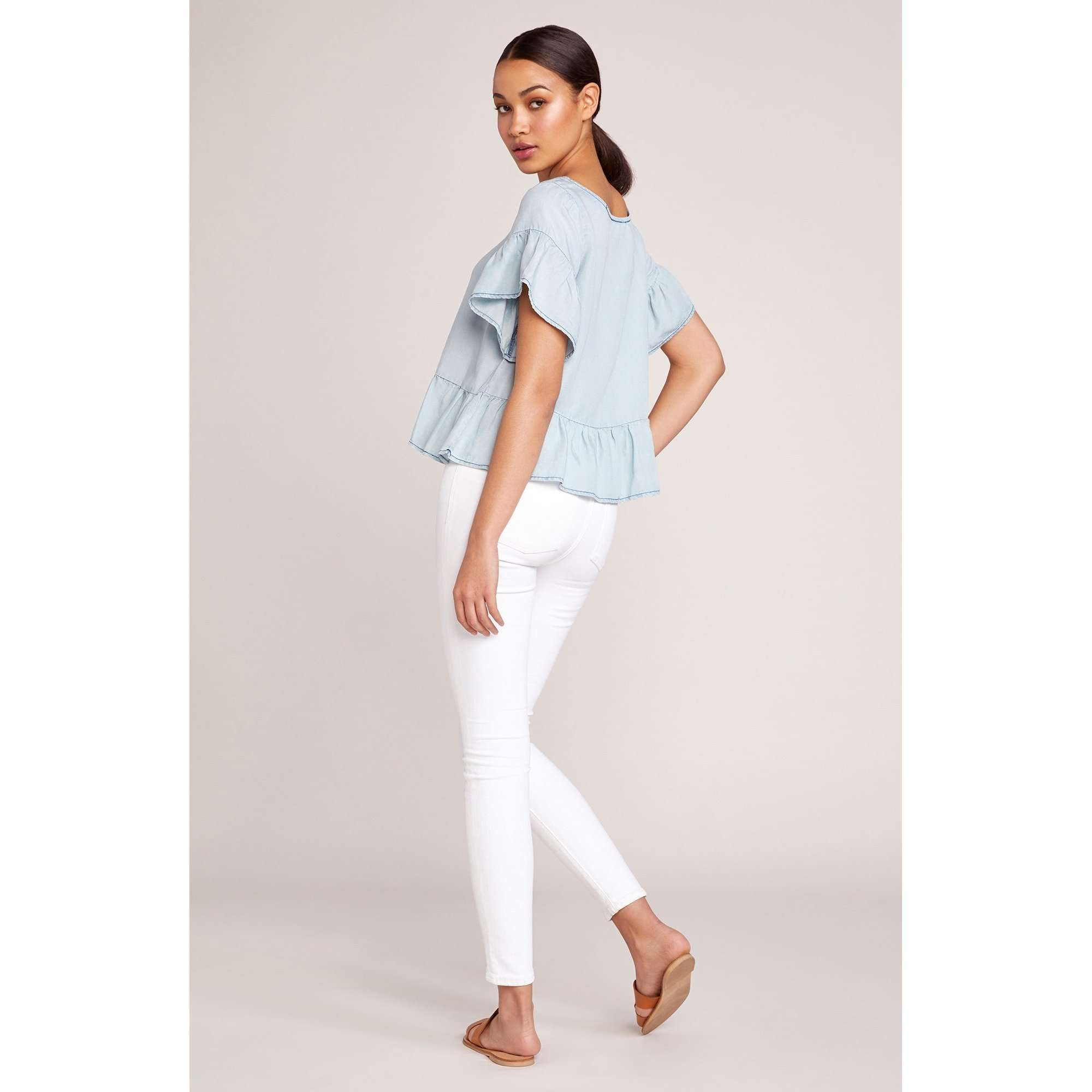 8.28 Boutique:BB Dakota,BB Dakota Ruffle and Ready Chambray Top,Tops