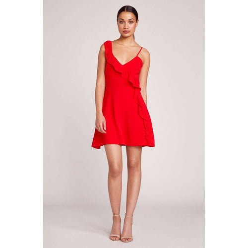 8.28 Boutique:BB Dakota,BB Dakota Walk On By Berry Red Ruffle Dress,Dress