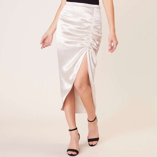 8.28 Boutique:BB Dakota,BB Dakota Shiny Dancer Silver Ruched Skirt,Bottoms