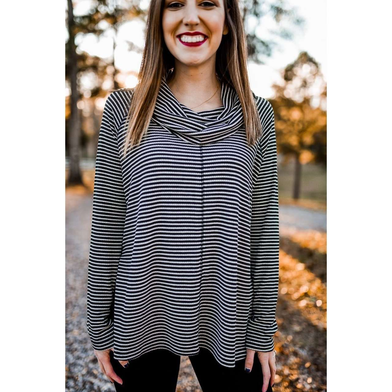 8.28 Boutique:Jack,Jack by BB Dakota Striped Cowl Neck Top,Tops