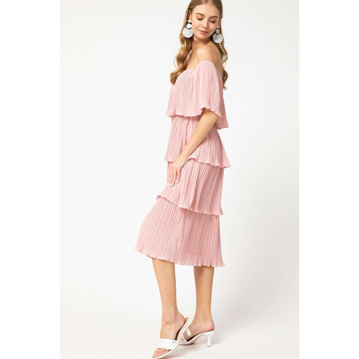 8.28 Boutique:8.28 Boutique,Entro Tiered Dress in Blush Pink,Dress