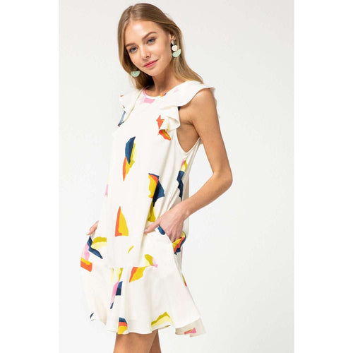 8.28 Boutique:8.28 Boutique,The Whitney Abstract Dress in White,Dress