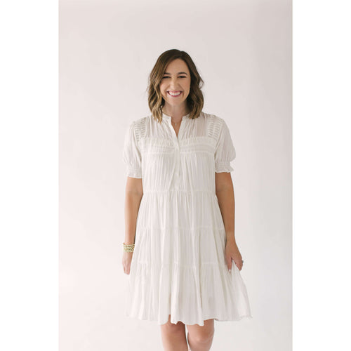 Current AirDressCurrent Air Dreaming of You White Tiered Dress