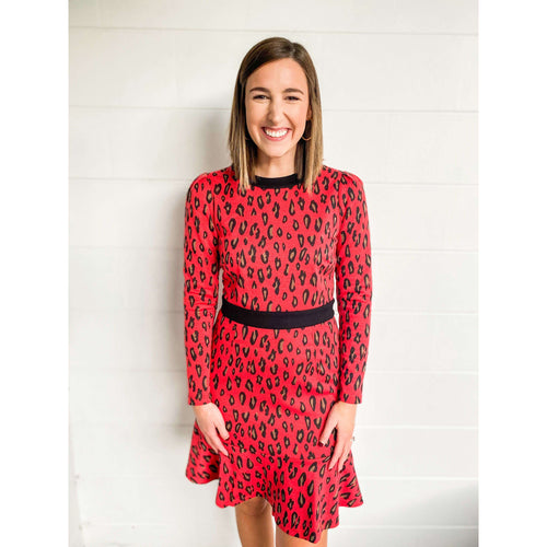 8.28 Boutique:Jade Melody Tam,Jade by Melody Tam Red Leopard Knit Dress,Dress