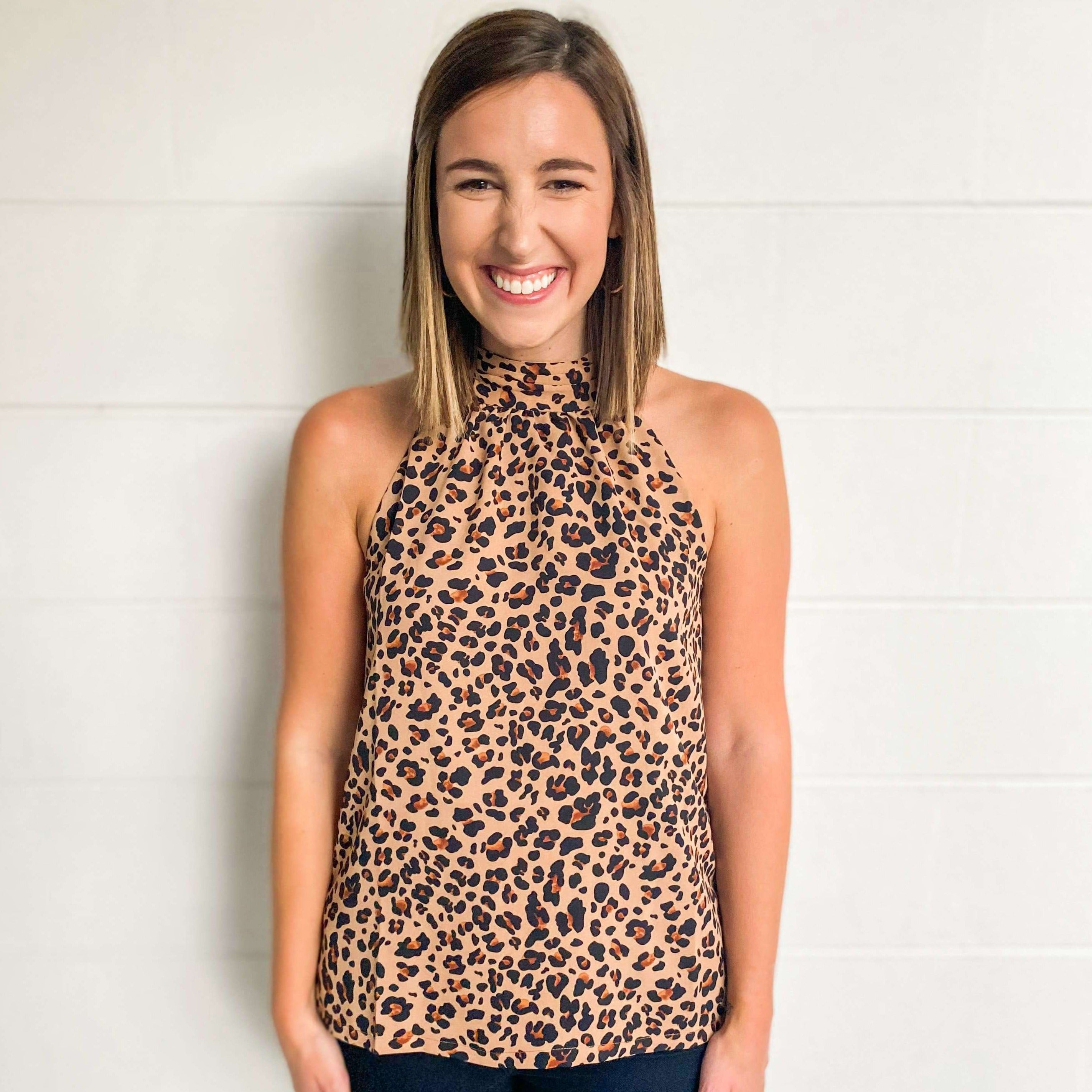 8.28 Boutique:Jade Melody Tam,Jade by Melody Tam Brown Leopard Halter Top,Top
