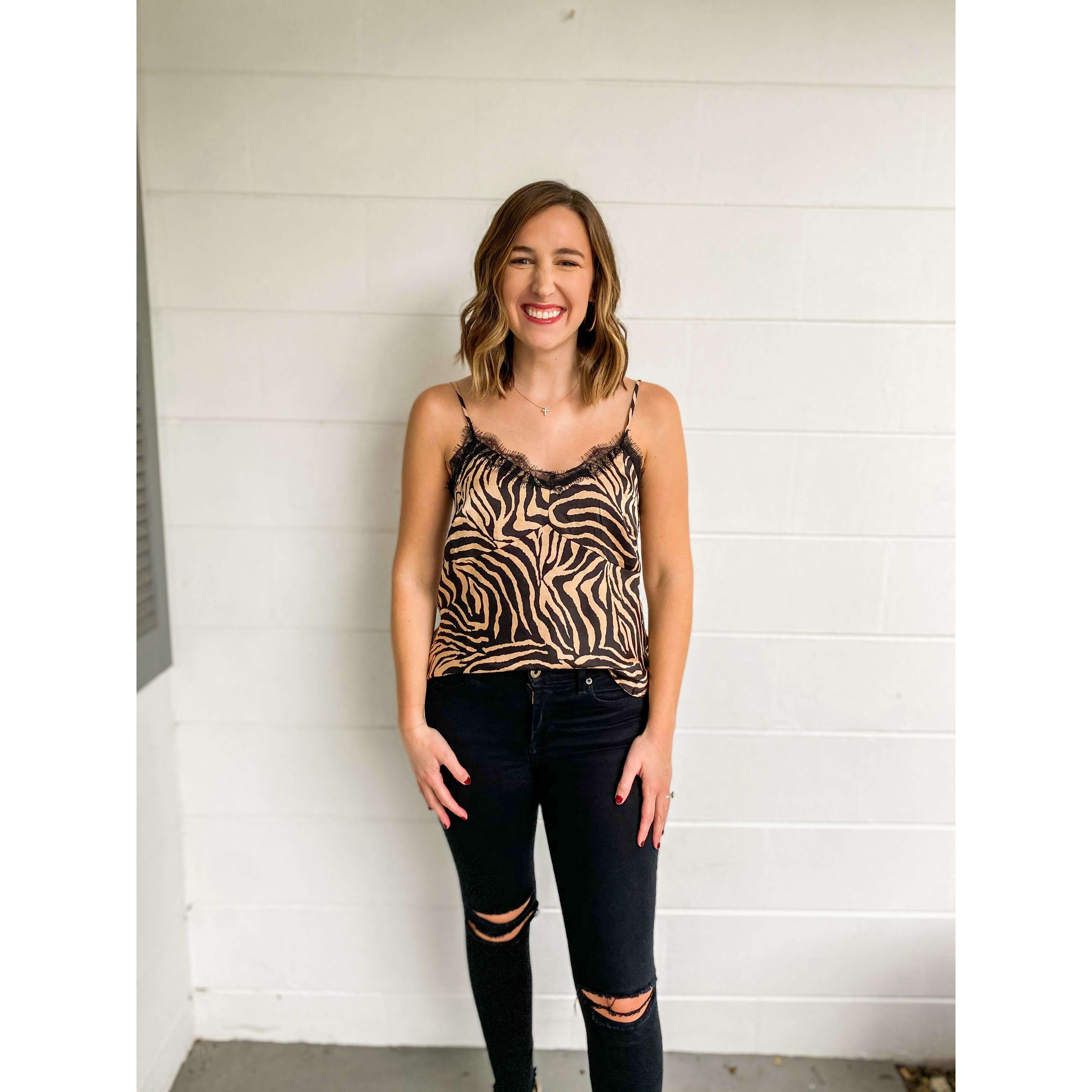 8.28 Boutique:LUCY PARIS,Lucy Paris Dakota Zebra Print Cami,Tops