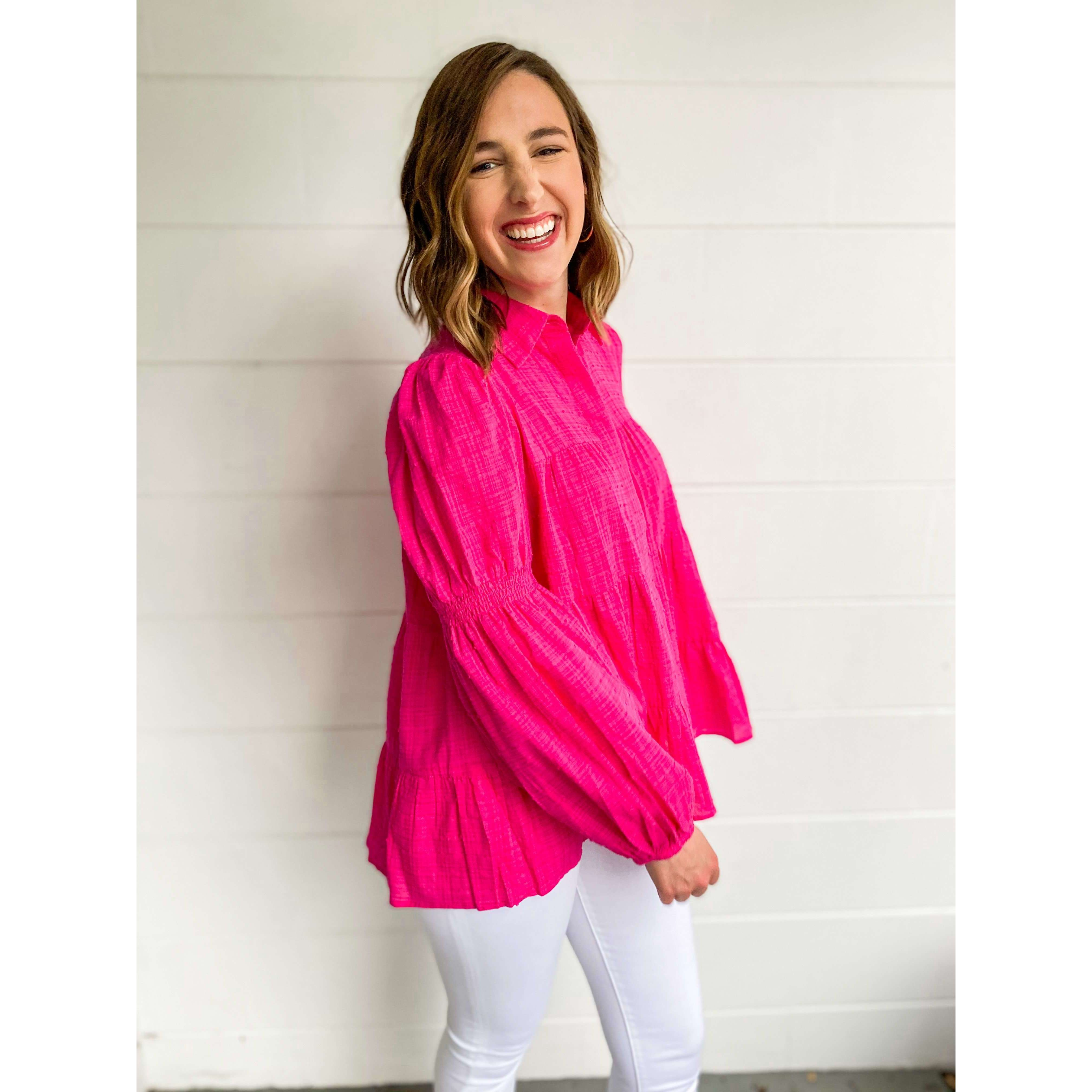 8.28 Boutique:Joy*Joy,Joy*Joy Fuchsia Tiered Baby Doll Blouse,Top