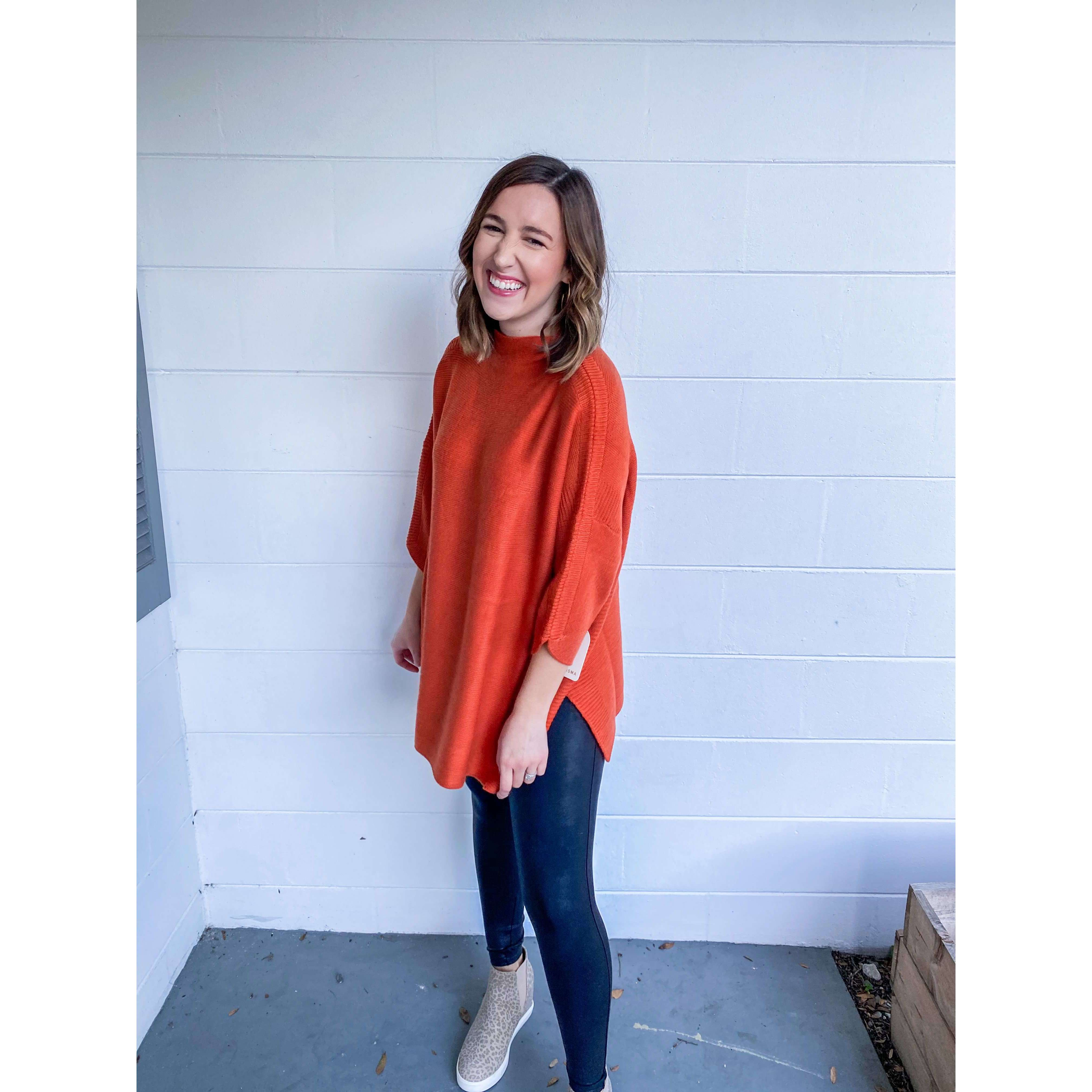 8.28 Boutique:Kerisma Knits,Kerisma Knit Boho Tunic in Burnt Orange,Sweaters