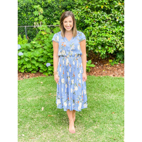 8.28 Boutique:Current Air,Current Air Dusty Blue Floral Pleated Midi Dress,Dress