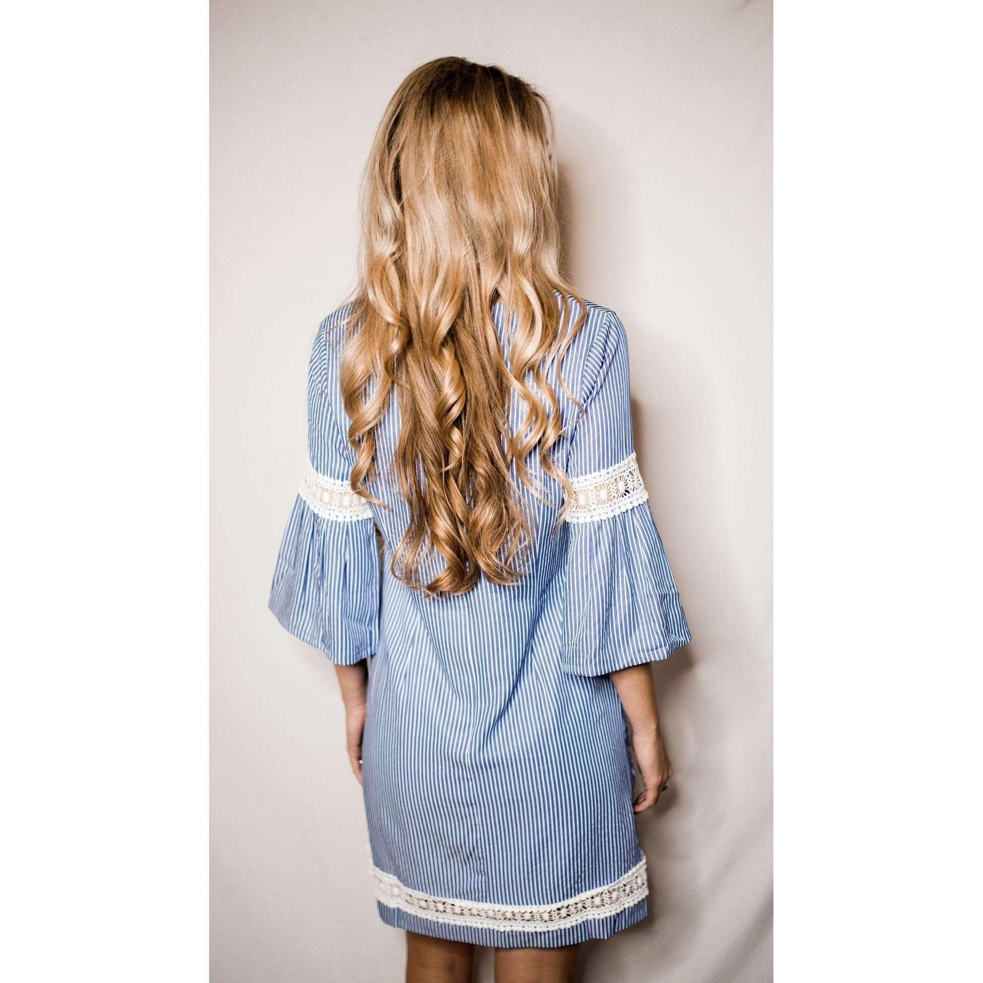 8.28 Boutique:JADE,Jade Blue and White Striped Lace Dress,Dress