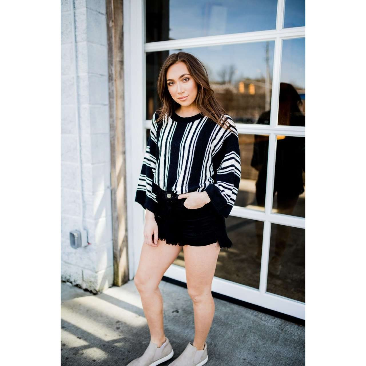 8.28 Boutique:Jack by BB Dakota,Jack by BB Dakota Between the Lines Black Sweater,Sweaters
