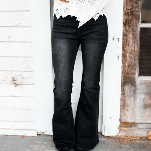 8.28 Boutique:8.28 Boutique,By Together Flare Black Jeans,Bottoms