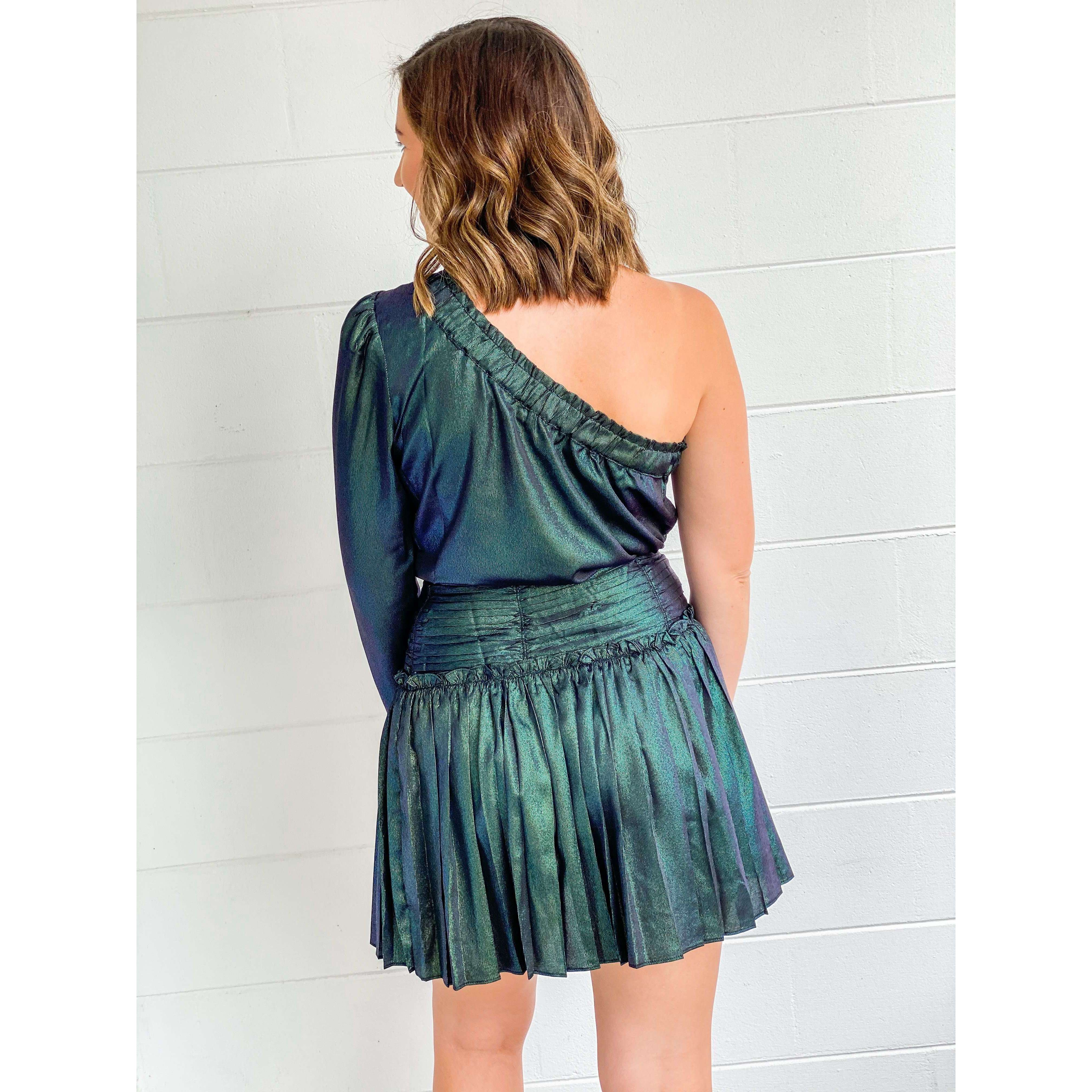8.28 Boutique:Current Air,Current Air Black Opal Pleated Midi Skirt,Bottoms