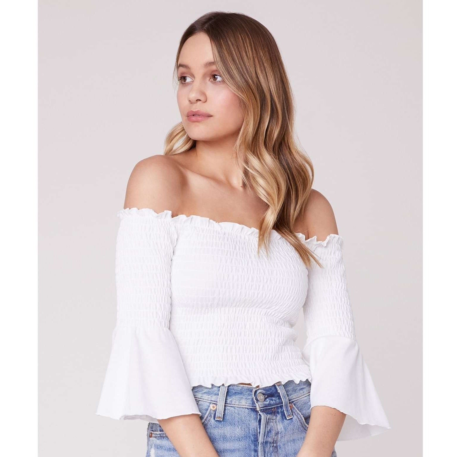 8.28 Boutique:Jack by BB Dakota,Jack by BB Dakota Show Off Smocked Top in White,Tops