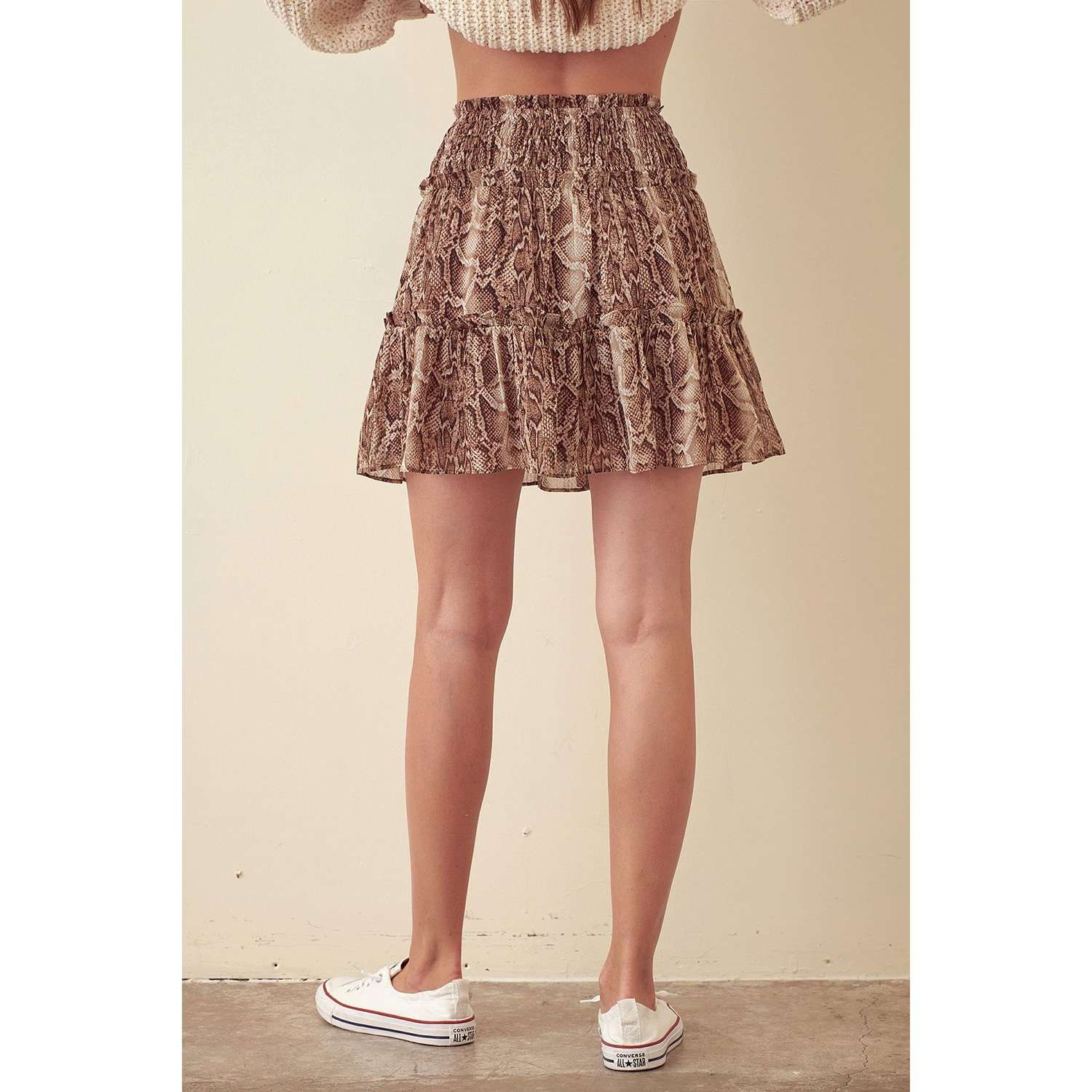 8.28 Boutique:Storia,Storia Snakeskin Ruffle Skirt,Bottoms