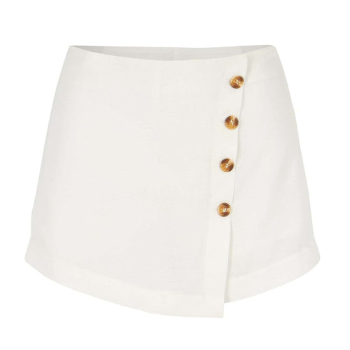 8.28 Boutique:Bishop + Young,Bishop + Young Summer in White Button Front Skort,Bottoms