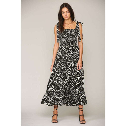8.28 Boutique:By Together,By Together Spotted Smocked Top Midi Dress,Dress