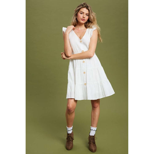 8.28 Boutique:8.28 Boutique,Summer Isn't Over White Button Down Dress,Dress