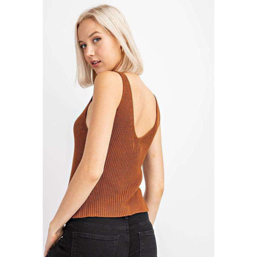 8.28 Boutique:8.28 Boutique,Le Lis V-Neck Cropped Sweater Tank,Tops