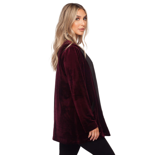 8.28 Boutique:Buddy Love,Buddy Love Hugh Wine Velvet Blazer,Outerwear