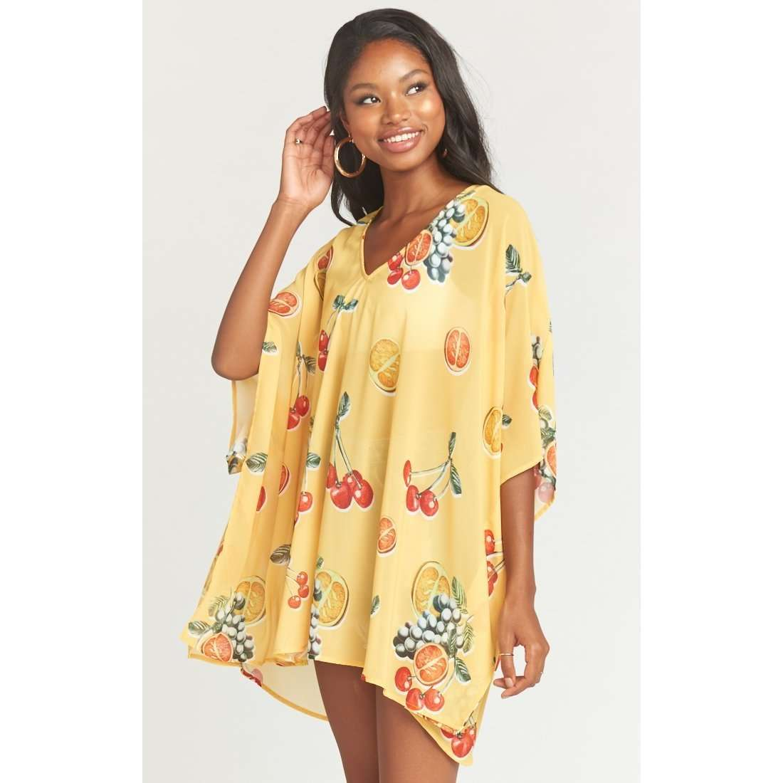 8.28 Boutique:Show Me Your Mumu,Show Me Your Mumu Peta Fruit Basket Yellow Tunic,Tops