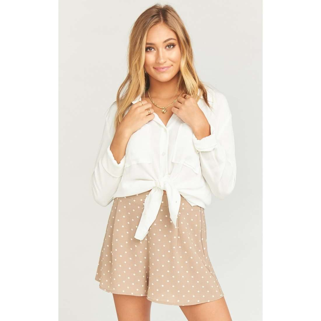 8.28 Boutique:Show Me Your Mumu,Show Me Your Mumu Dotcha Polk Dot Beige Miss Me Shorts,Bottoms