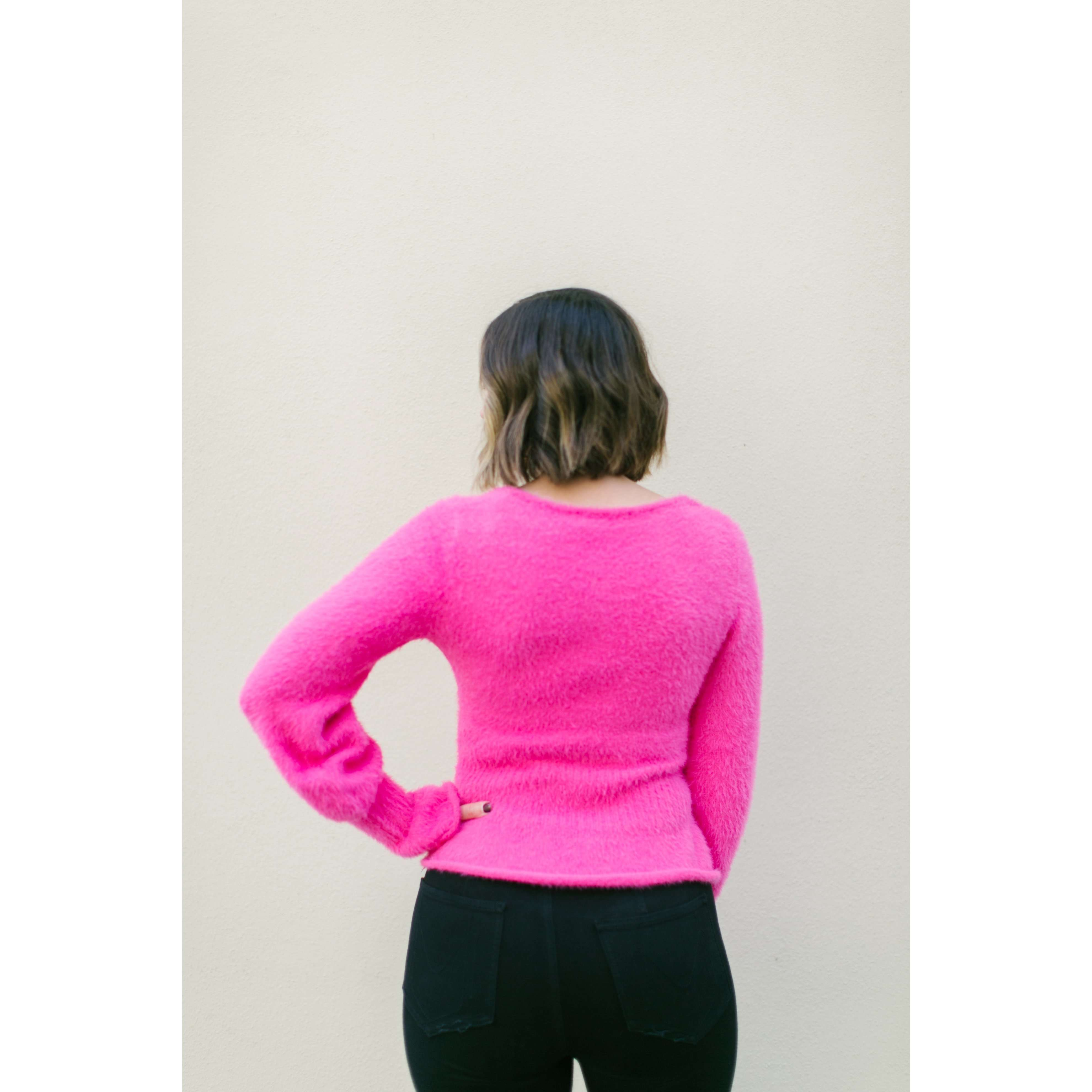 8.28 Boutique:8.28 Boutique,DO + BE Ruffled Hem and Flared Sleeve Hot Pink Sweater,Tops