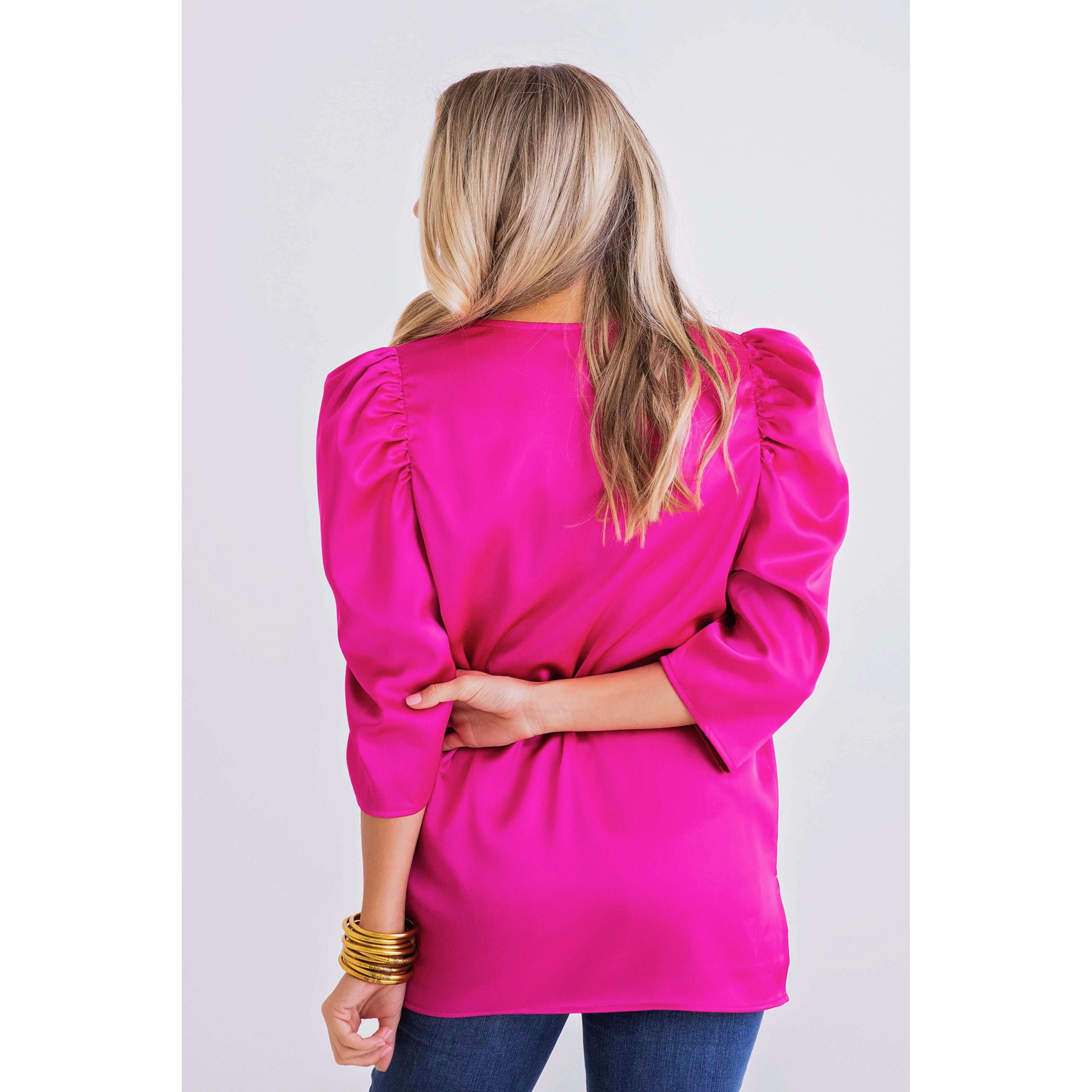 8.28 Boutique:Karlie Clothes,Karlie Clothes Hot Pink Puff Sleeve Top,Tops