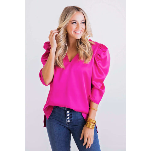 Joy*Joy Fuchsia Tiered Baby Doll Blouse