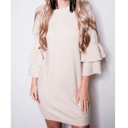8.28 Boutique:BB Dakota,BB Dakota Bell Sleeve Sweater Dress,Dress
