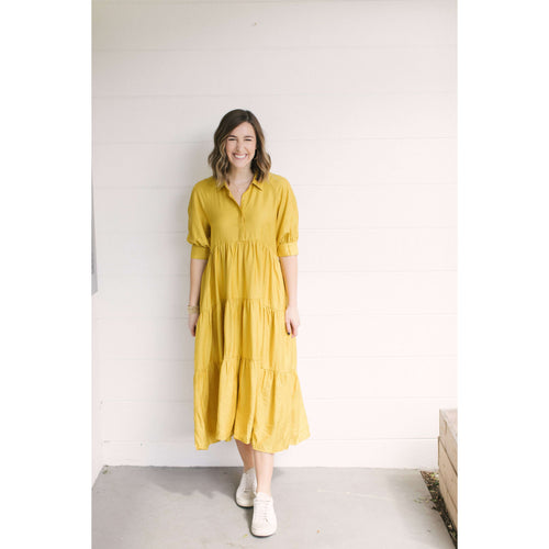 8.28 Boutique:La'Ven,La'Ven Mustard Tiered Dress,Dress