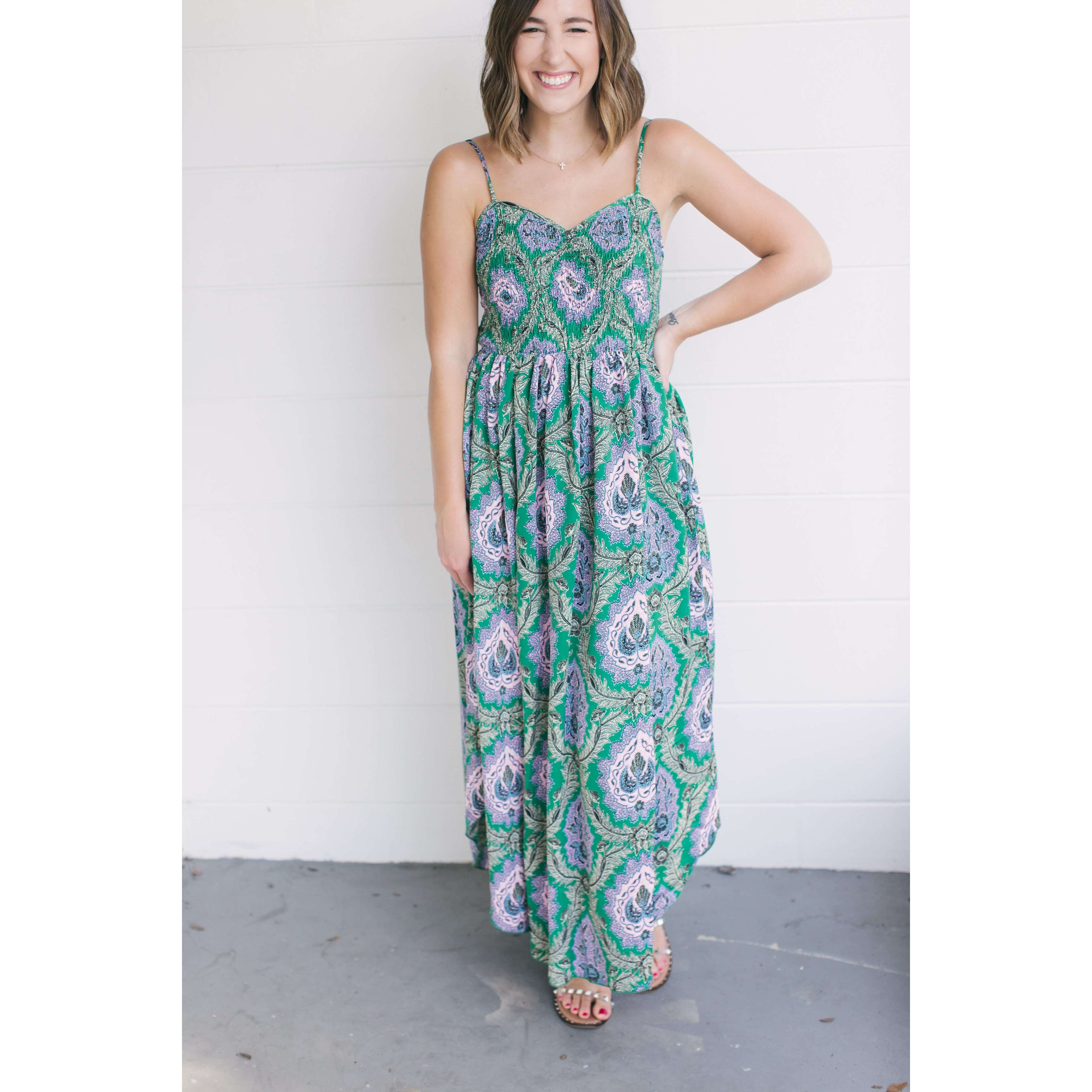 8.28 Boutique:THML,THML Sweetheart Smocked Top Maxi Dress,Dress
