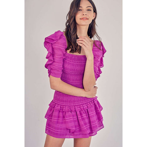 DO + BETopsDO + BE Orchid Smocked Ruffle Sleeve Top