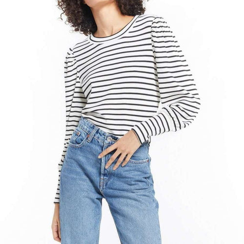 8.28 Boutique:Z-Supply,Z-Supply Clementine Striped Puff Sleeve Top,Tops