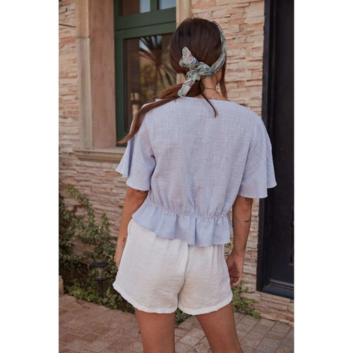 8.28 Boutique:Sage the Label,Sage the Label Cecile Powder Blue Blouse,Tops