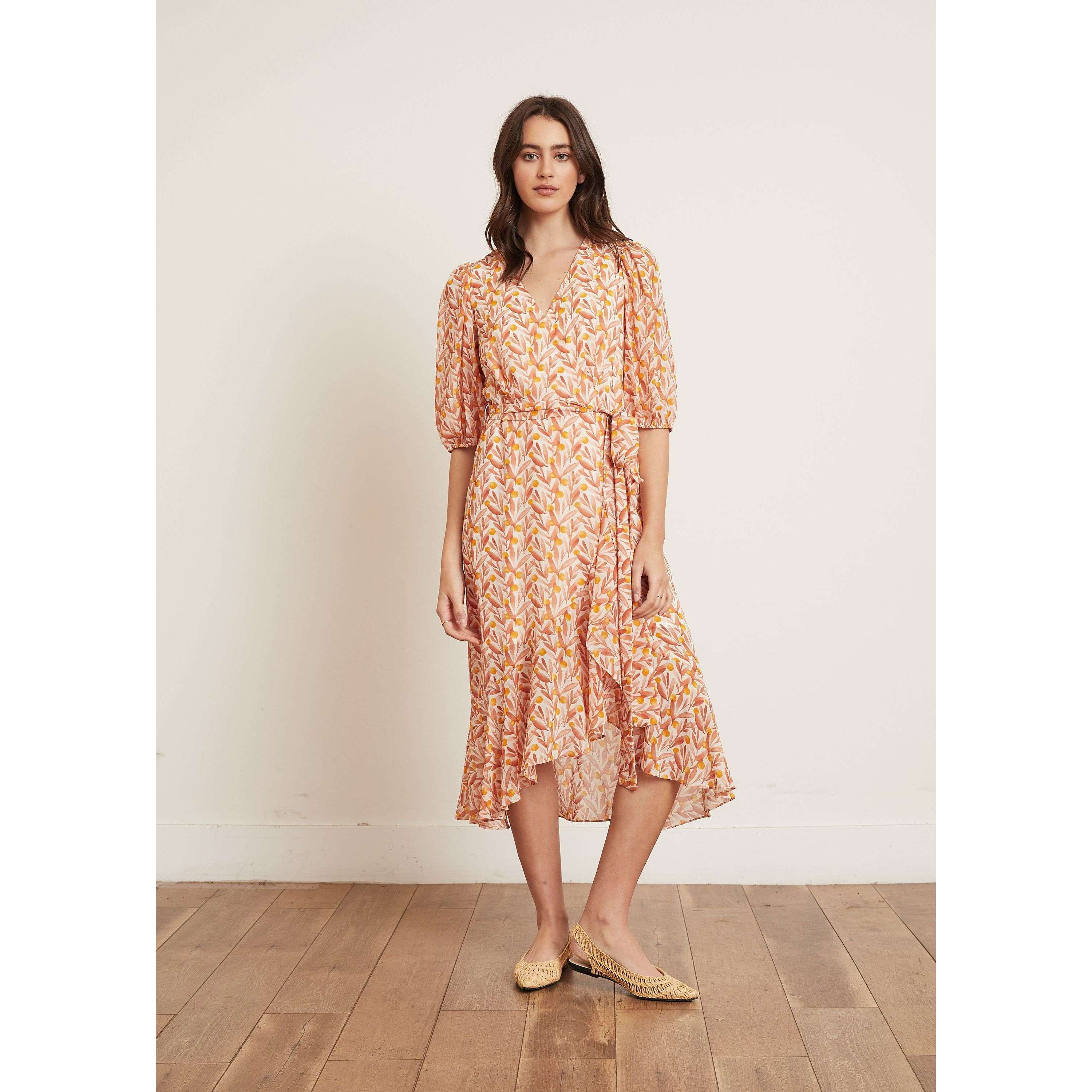 8.28 Boutique:LUCY PARIS,Lucy Paris Claira Orange Floral Dress,Dress