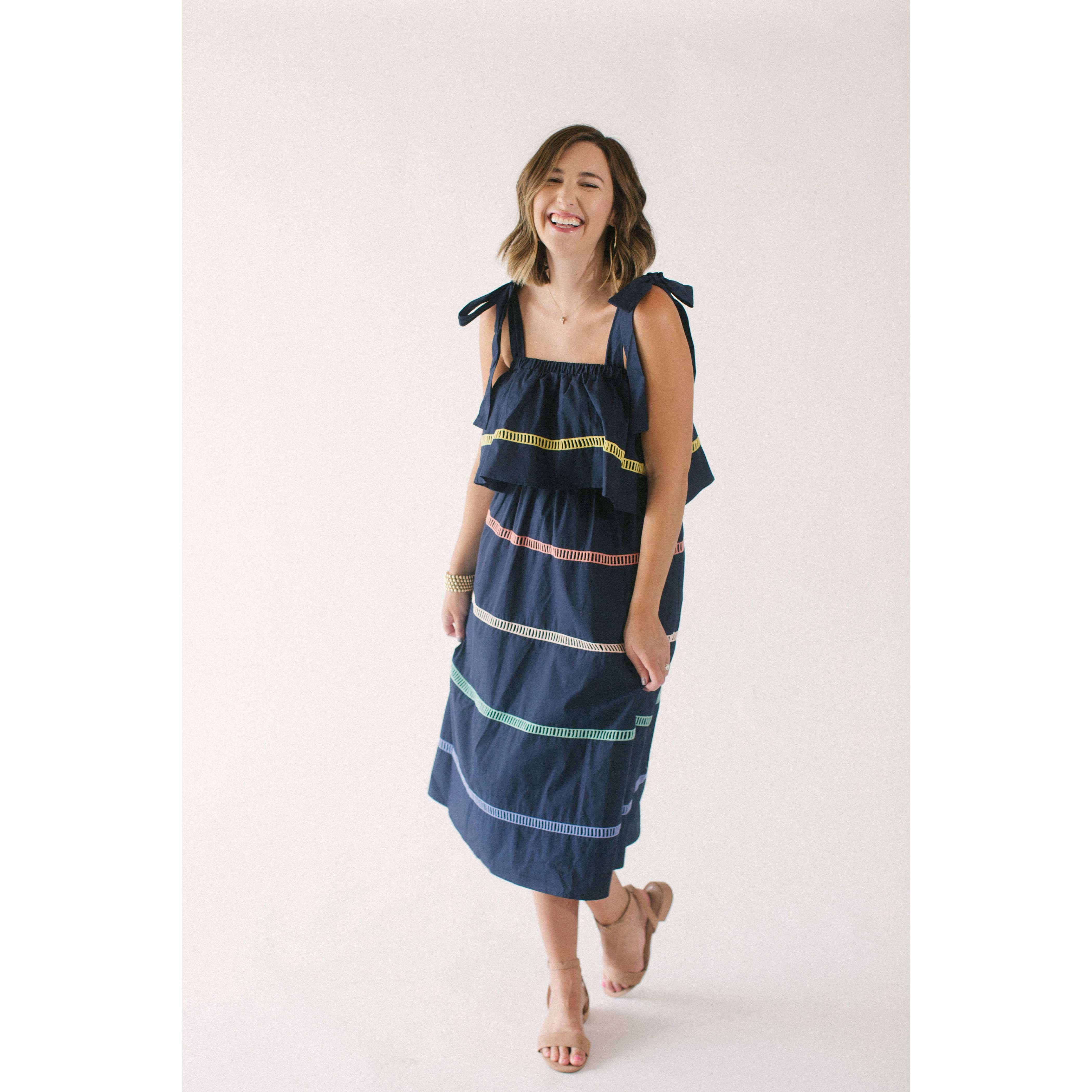 8.28 Boutique:English Factory,English Factory Color Block Navy Midi Dress,Dress
