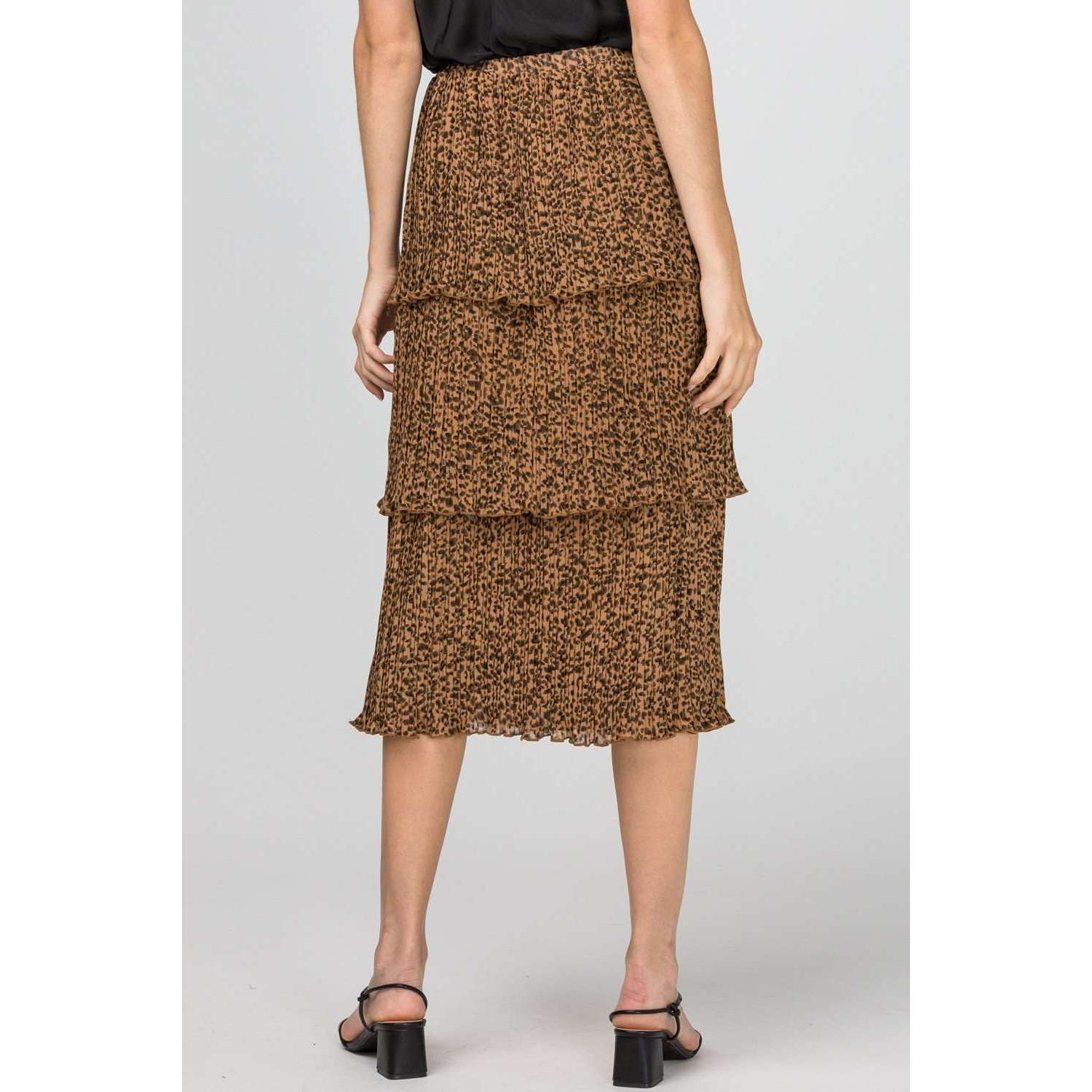 8.28 Boutique:8.28 Boutique,Entro Cheetah Tiered Skirt,Bottoms