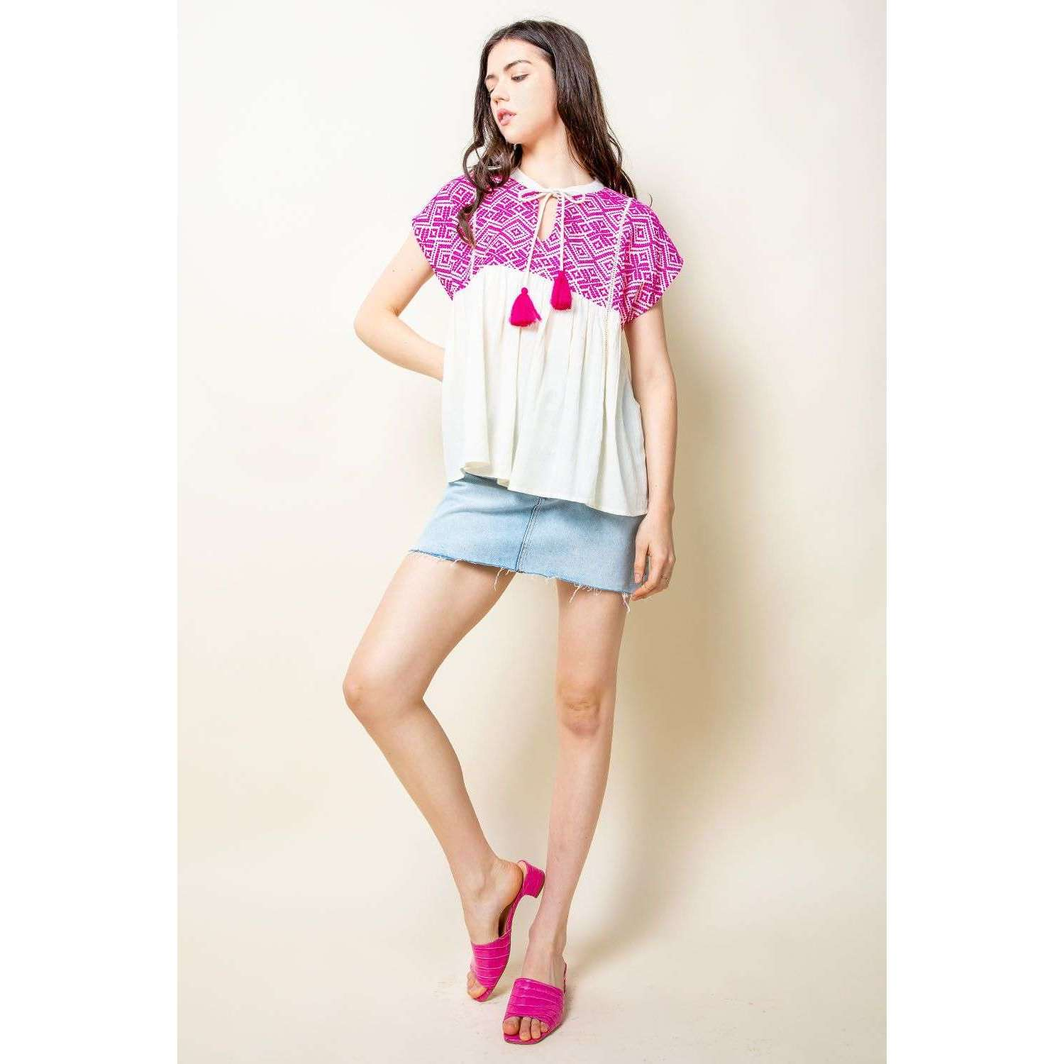 8.28 Boutique:THML,THML Embroidered Babydoll Top,tops