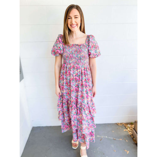 8.28 Boutique:Free the Roses,Free the Roses Floral Tiered Maxi Dress,Dress