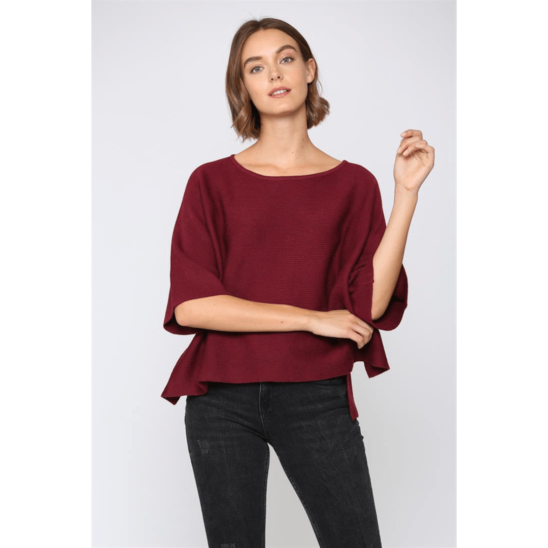 8.28 Boutique:8.28 Boutique,Fate by LFD Burgundy Sweater,Tops