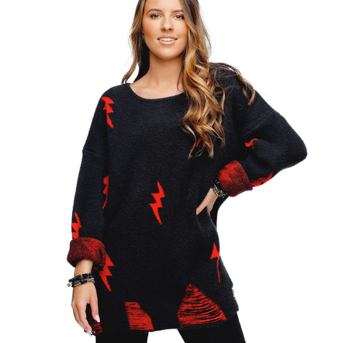 8.28 Boutique:Buddy Love,Buddy Love Fiona Black and Red Lightning Sweater,Sweaters