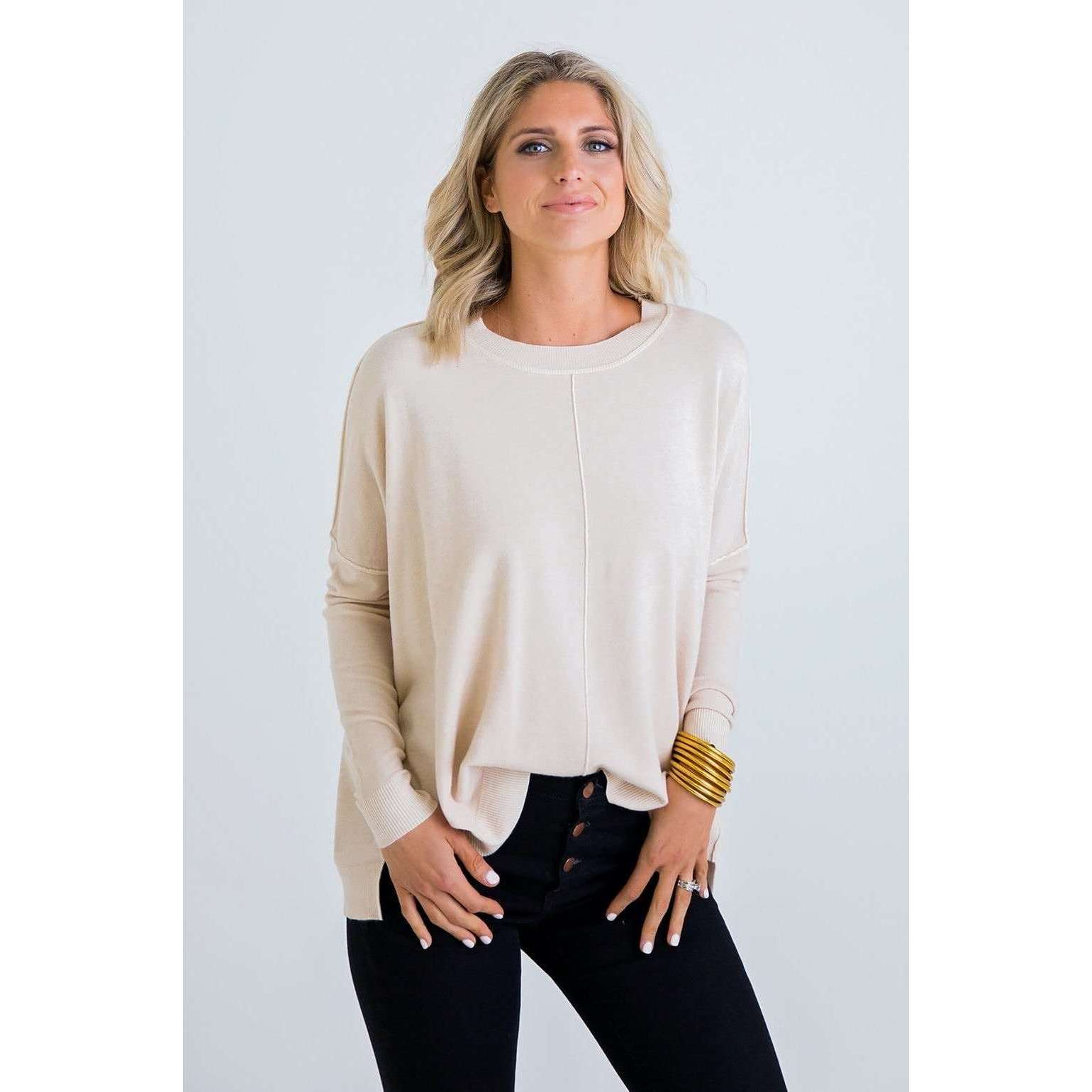 8.28 Boutique:Karlie Clothes,Karlie Clothes Falling For You Beige Sweater,Top
