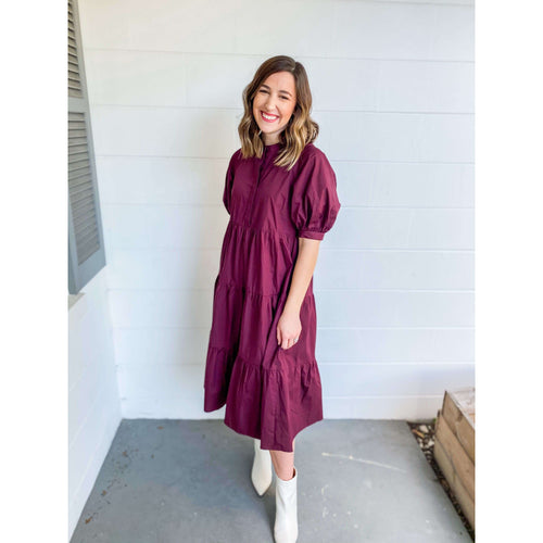8.28 Boutique:English Factory,English Factory Plum Tiered Midi Dress,Dress
