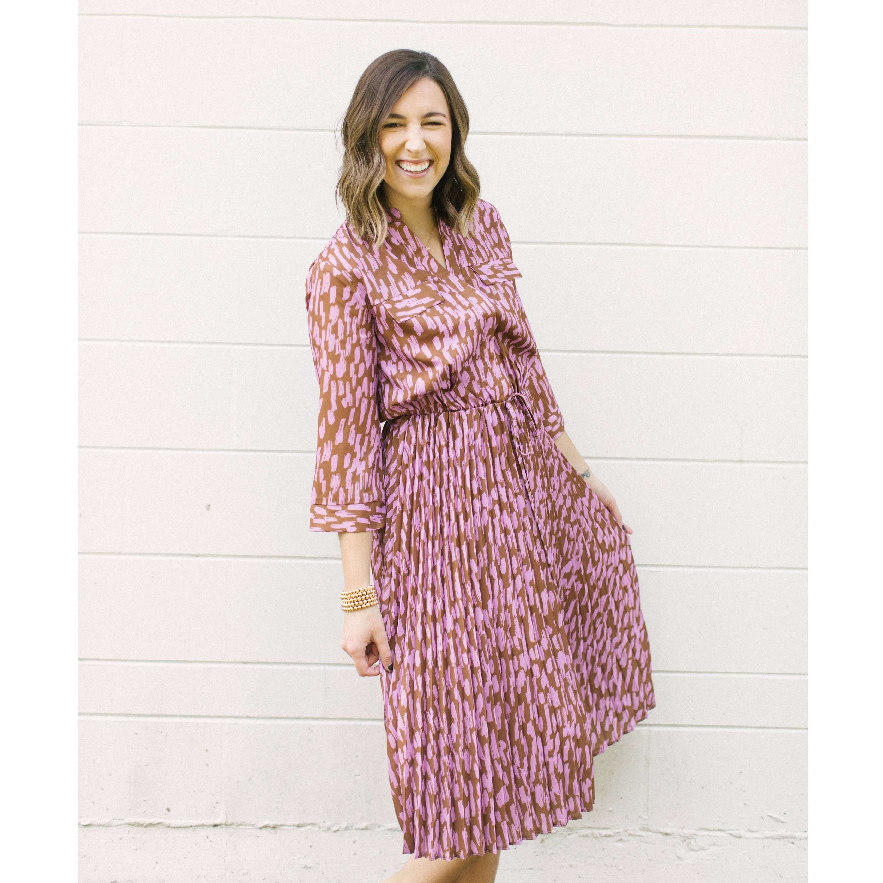 8.28 Boutique:Jade Melody Tam,Jade by Melody Tam Brown Brush Pleated Midi Dress,Dress