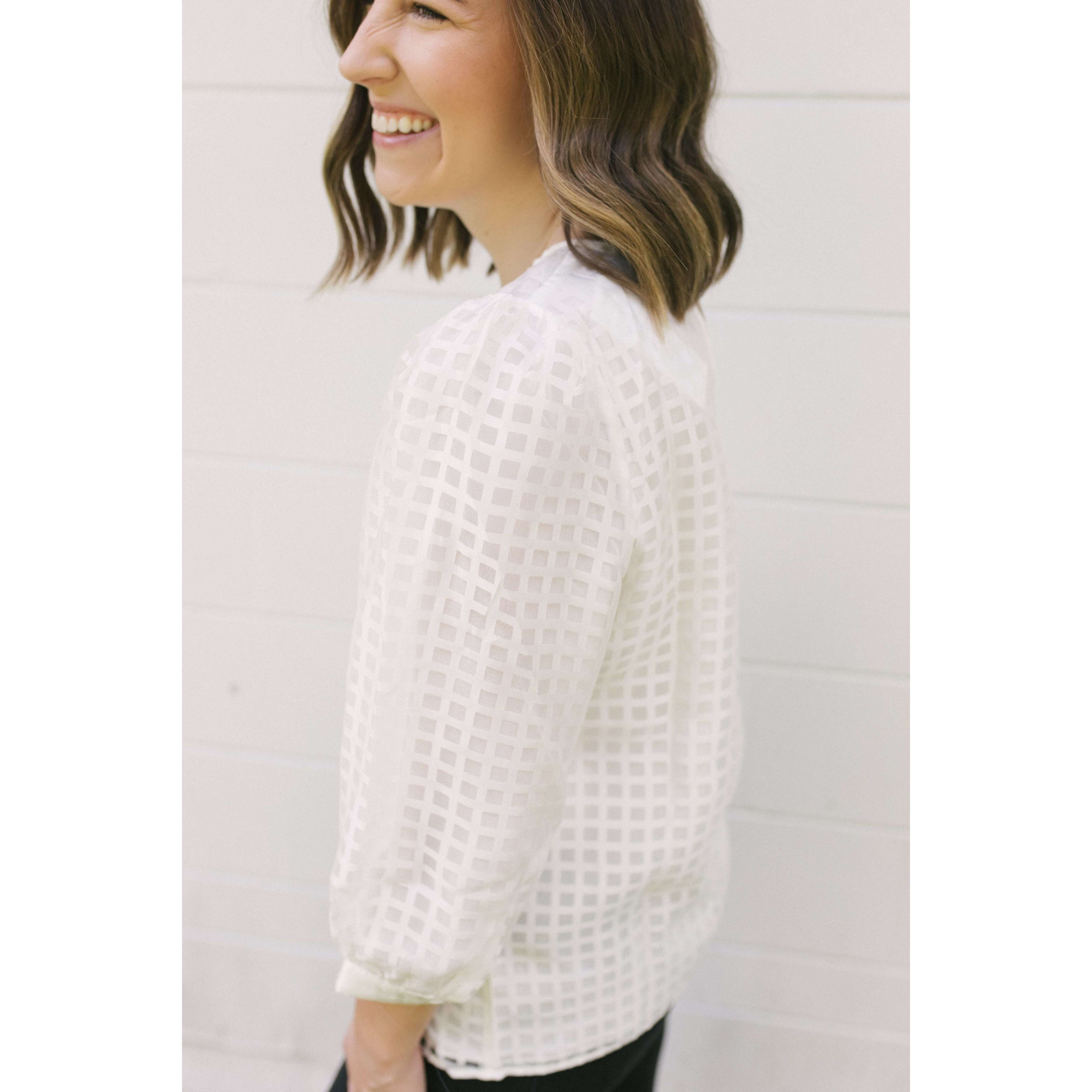 8.28 Boutique:Jade Melody Tam,Jade by Melody Tam White Check Puff Sleeve Blouse,Tops