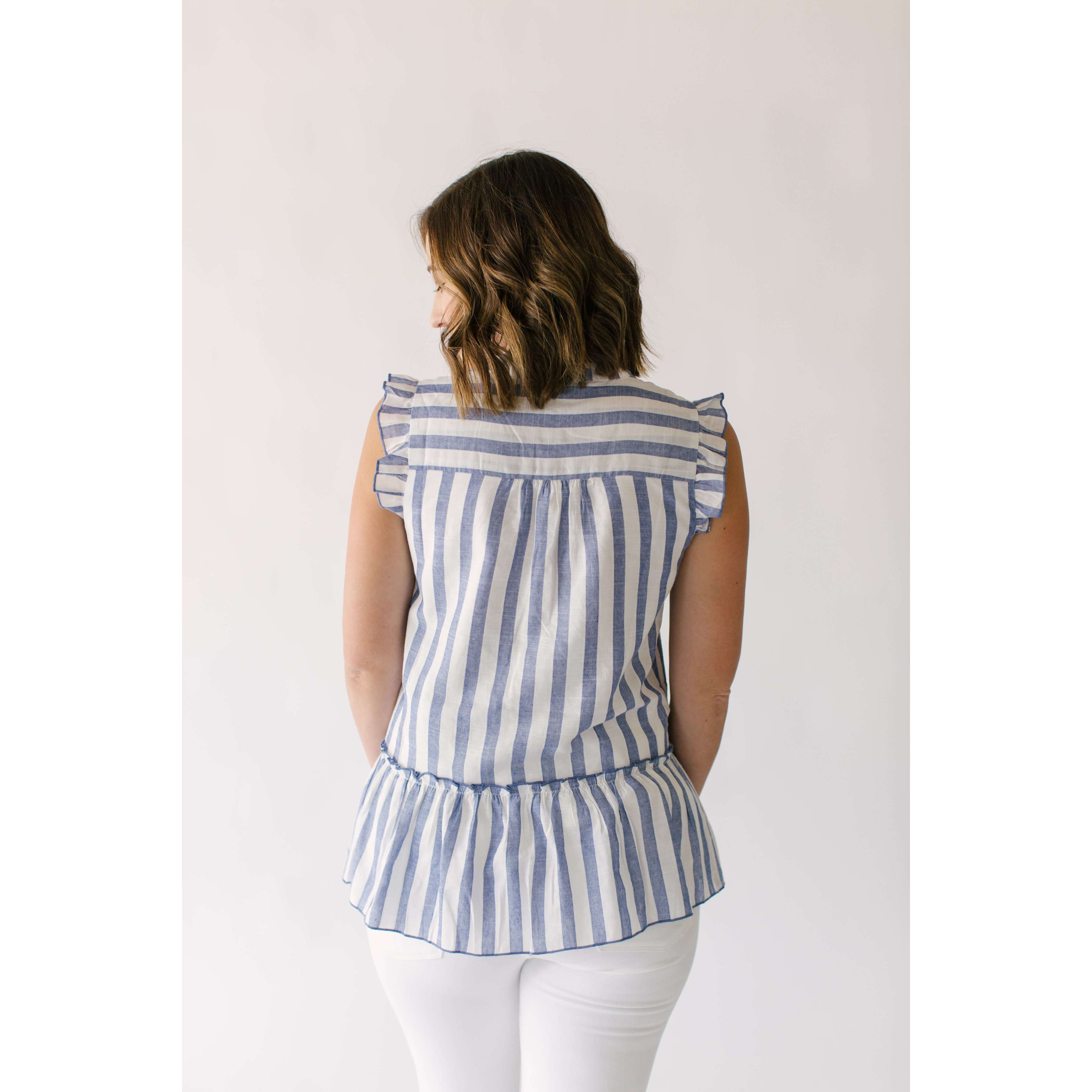 8.28 Boutique:Joy*Joy,Joy*Joy Baby Blue's Ruffle Stripe Top,Tops